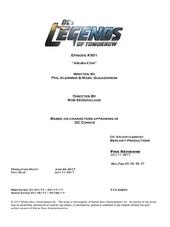 DC's Legends of Tomorrow script title page - Aruba-Con
