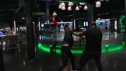 Dinah training with Diggle
