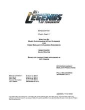 DC's Legends of Tomorrow script title page - Pilot, Part 1