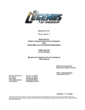 DC's Legends of Tomorrow script title page - Pilot, Part 1