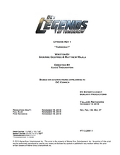 DC's Legends of Tomorrow script title page - Turncoat