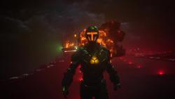 Lex destroys a Kaznian battleship
