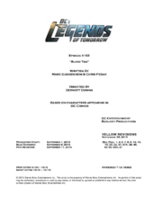 DC's Legends of Tomorrow script title page - Blood Ties