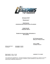 DC's Legends of Tomorrow script title page - Marooned