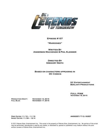 File:DC's Legends of Tomorrow script title page - Marooned.png