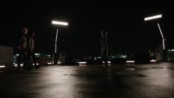 Laurel, Oliver e Diggle confrontando Lyla