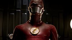 The new Flash suit on display at S.T.A.R. Labs