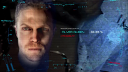A.T.O.M. Exosuit running facial recognition software on the Arrow, getting Oliver Queen as the result