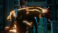 The Flash intercepting two boomerangs from striking the Arrow.png
