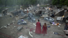 Kara and Clark arrive at the destroyed Krypton Park