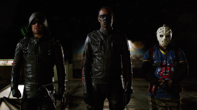 File:Green Arrow, Mr. Terrific and Wild Dog meet Dinah Drake.png