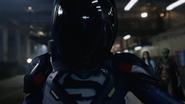 Supergirl's protective suit covers her completely