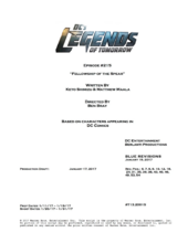 DC's Legends of Tomorrow script title page - Fellowship of the Spear