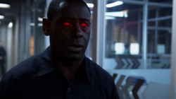 """Hank Henshaw's"" glowing eyes"
