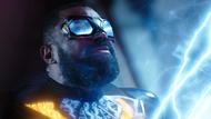 Black Lightning absorbs energy from the antimatter cannon