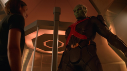 J'onn J'onzz revealing his identity to Alex