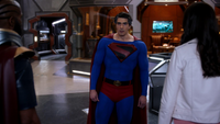 Lois asks Earth-96 Superman why he put black on his crest