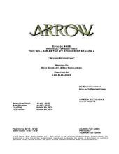 Arrow script title page - Beyond Redemption