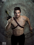 Shirtless Oliver running with arrows strapped to his back