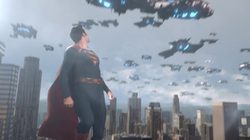 Superman watches as the Daxamites leaves Earth