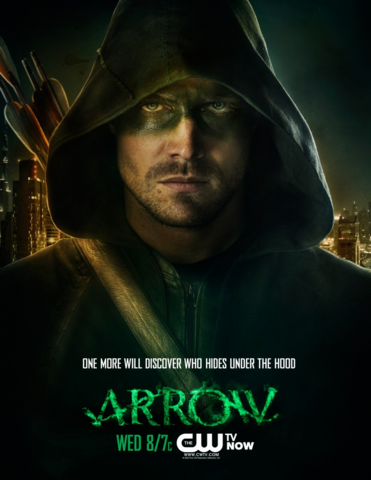 File:Arrow promo - One more will discover who hides under the hood.png