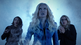 Iris, Killer Frost and Felicity inside an ice dome