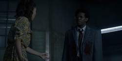 Luke enter to Mary's clinic covered in Reggie Harris' blood