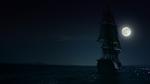 Statek z załogą Okrutnej kapitan Jiwe płynie po skarb Czarnobrodego