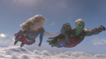 Supergirl and J'onn fly together