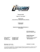 DC's Legends of Tomorrow script title page - Night of the Hawk