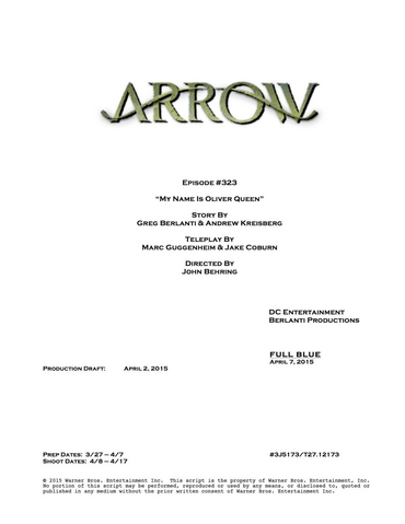 File:Arrow script title page - My Name Is Oliver Queen.png