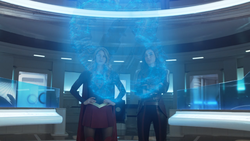 Supergirl and Imra aboard the Legion ship