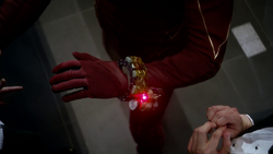 The bomb on The Flash's wrist placed by The Trickster
