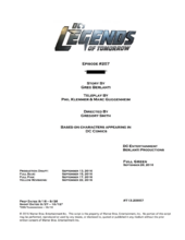 DC's Legends of Tomorrow script title page - Invasion!