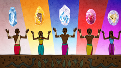 The five great Zambesi tribes presented with mystical totems