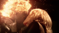 Deathstorm and Killer Frost kiss