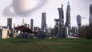 Kara and Mon-El arriving at Argo City