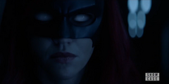 Batwoman with white eyes