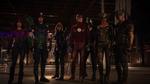Green Arrow, Flash, Black Canary, Spartan, Speedy, Hawkman and Hawkgirl facing Vandal Savage