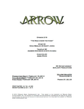Arrow script title page - The Man Under the Hood