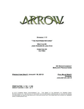 Arrow script title page - The Huntress Returns