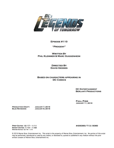 File:DC's Legends of Tomorrow script title page - Progeny.png