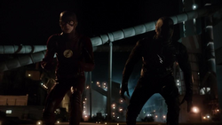 The Flash and Zoom about to race