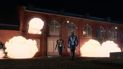 Thunder and Black Lightning destroy a Green Light production facility