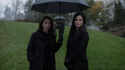 Talia and Nyssa at Oliver's funeral