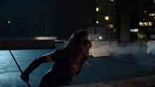 Black Canary uses her scream on the Green Arrow