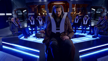 Rip Hunter pilots the Waverider for his team for the first time