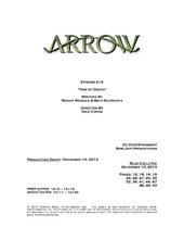 Arrow script title page - Time of Death