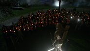 The citizens of Star City gather to memorialize the Green Arrow