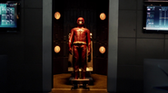 The new Flash suit on display at STAR Labs